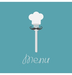 Fork with big mustache and chef hat Menu card vector image vector image