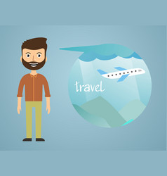 man dreaming about his vacation vector image
