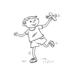 sketch fun boy runs with toy plane in his vector image