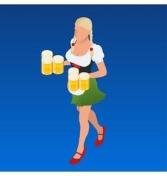 Waitress Bavaria wit beer mugs decorated vector image
