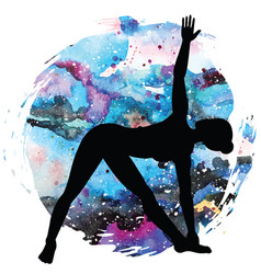 women silhouette extended triangle yoga pose vector image vector image