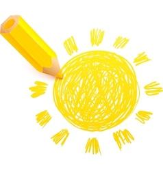 Yellow cartoon pencil with doodle sun vector image