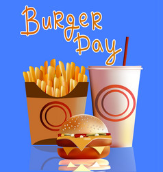 banner burger fries cola fast vector image