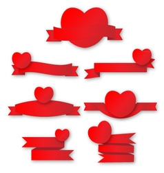 Cute red heart with ribbon vector image