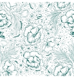 Green flowers Seamless floral background vector image