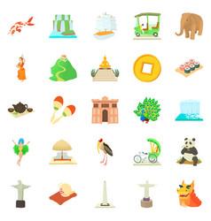 Journey icons set cartoon style vector