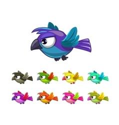 Little cartoon flying birds set vector image vector image