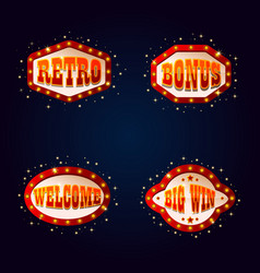 shining signboards for gambling places or casino vector image