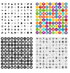 100 fit body icons set variant vector