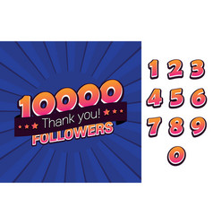 10000 followers thank you for social vector