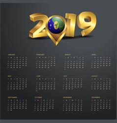 2019 calendar template christmas island country vector
