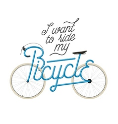 Abstract bicycle with quote vector image