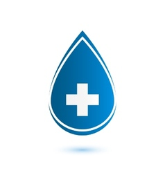 Abstract blue drop medical symbol vector