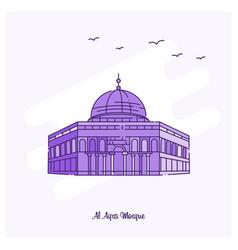 Al aqsa mosque landmark purple dotted line skyline vector