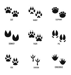 Animal tracking icons set simple style vector