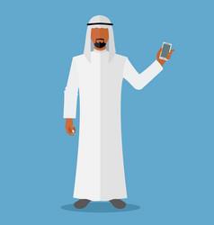 Arab man holding smartphone vector