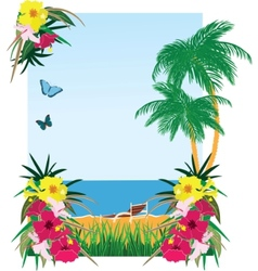 Background with tropical plants vector