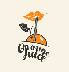 banner for orange juice with lips and straw vector image