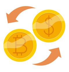bitcoin exchange icon cartoon style vector image vector image