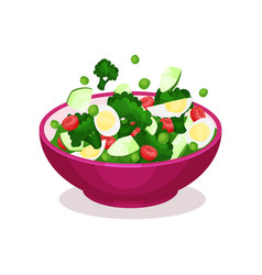 Bowl of vegetable salad with egg healthy eating vector