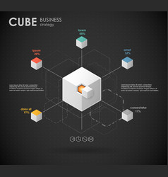 Business template conceptual cube with vector