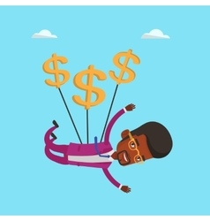 Businessman flying with dollar signs vector