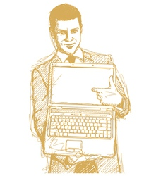 businessman laptop finger vector image