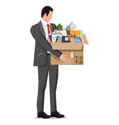Businessman moving to new office vector