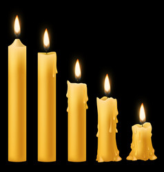 Candles burning romantic holiday candlelight vector