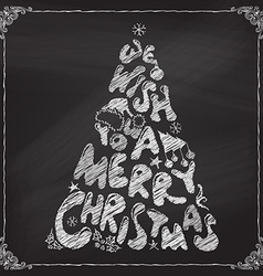Chalk We Wish You a Merry Christmas tree design vector