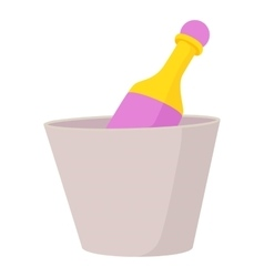 Champagne in bucket icon cartoon style vector
