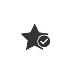 check mark with star icon in flat style add to vector image
