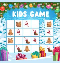 Children christmas crossword logical game vector
