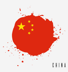 china watercolor national country flag icon vector image