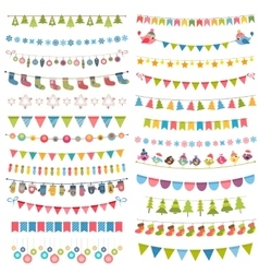 christmas flags bunting and garlands isolated on vector image