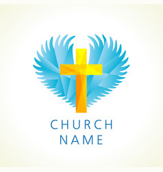 Church cross wings logo creative vector