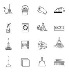 Cleaning icons set modern line sketch doodle vector