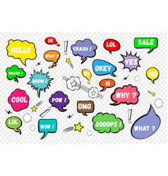 comic speech bubbles set of color speech bubbles vector image