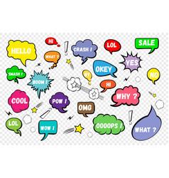 Comic speech bubbles set of color speech bubbles vector
