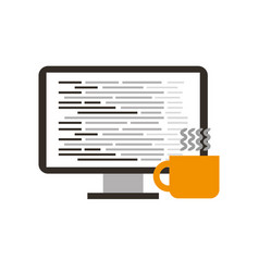 computer software coffee cup coding web vector image