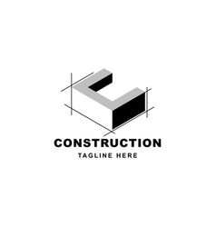 construction logo design with letter c shape icon vector image