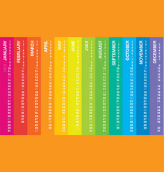 creative calendar 2019 rainbow design vector image