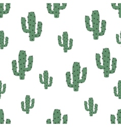 Cute green cactus seamless pattern vector