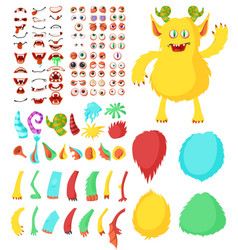 Cute monster cartoon character constructor kit vector