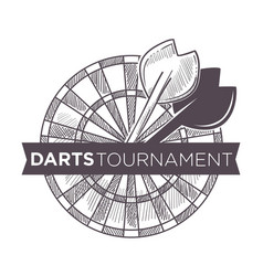 Darts tournament playing game with arrows and vector