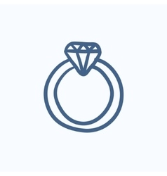 Diamond ring sketch icon vector