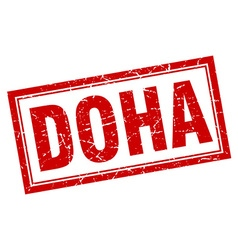 Doha red square grunge stamp on white vector
