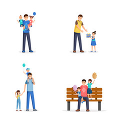 father day flat set young vector image