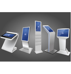 five promotional interactive information kiosk vector image