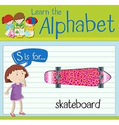 Flashcard alphabet s is for skateboard vector